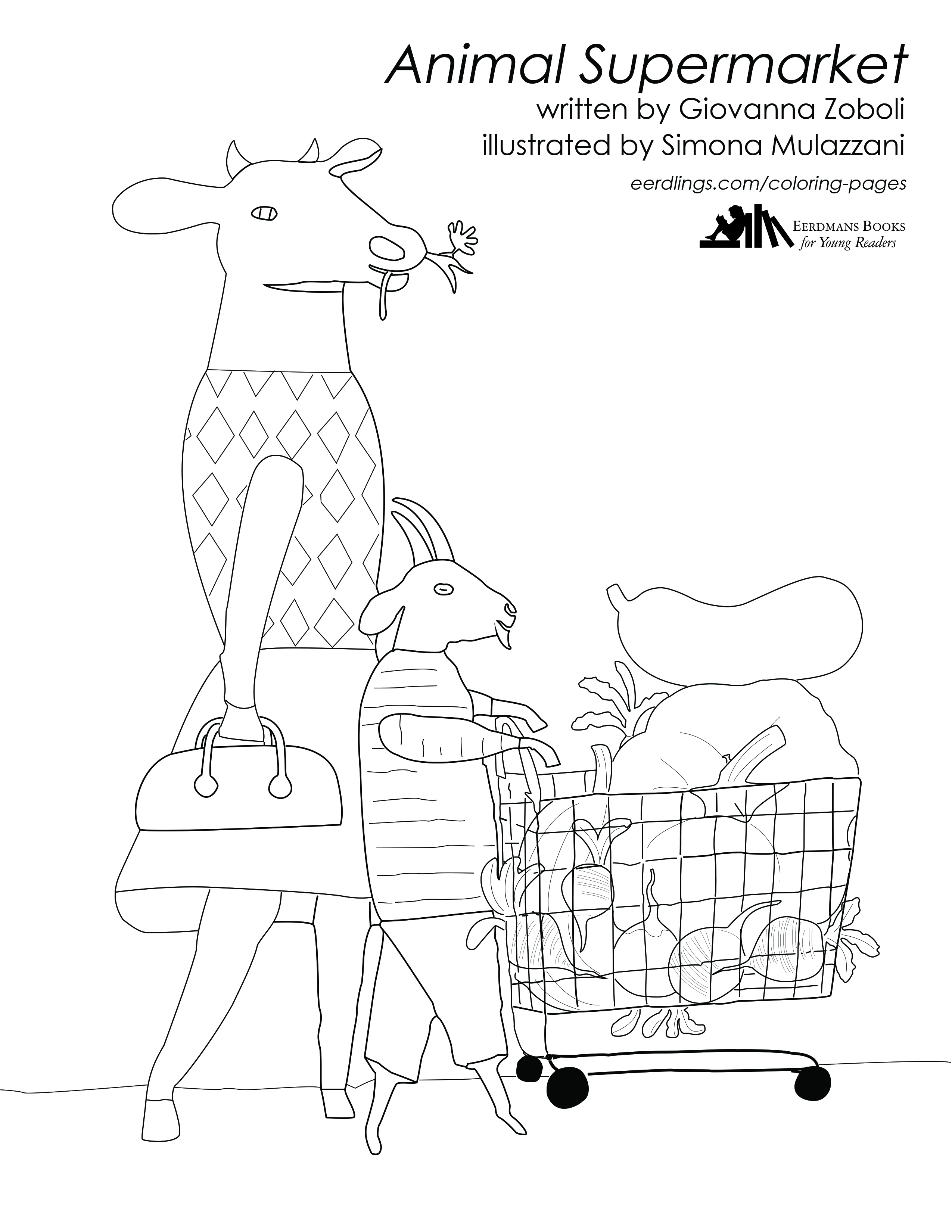 Animal Supermarket coloring page