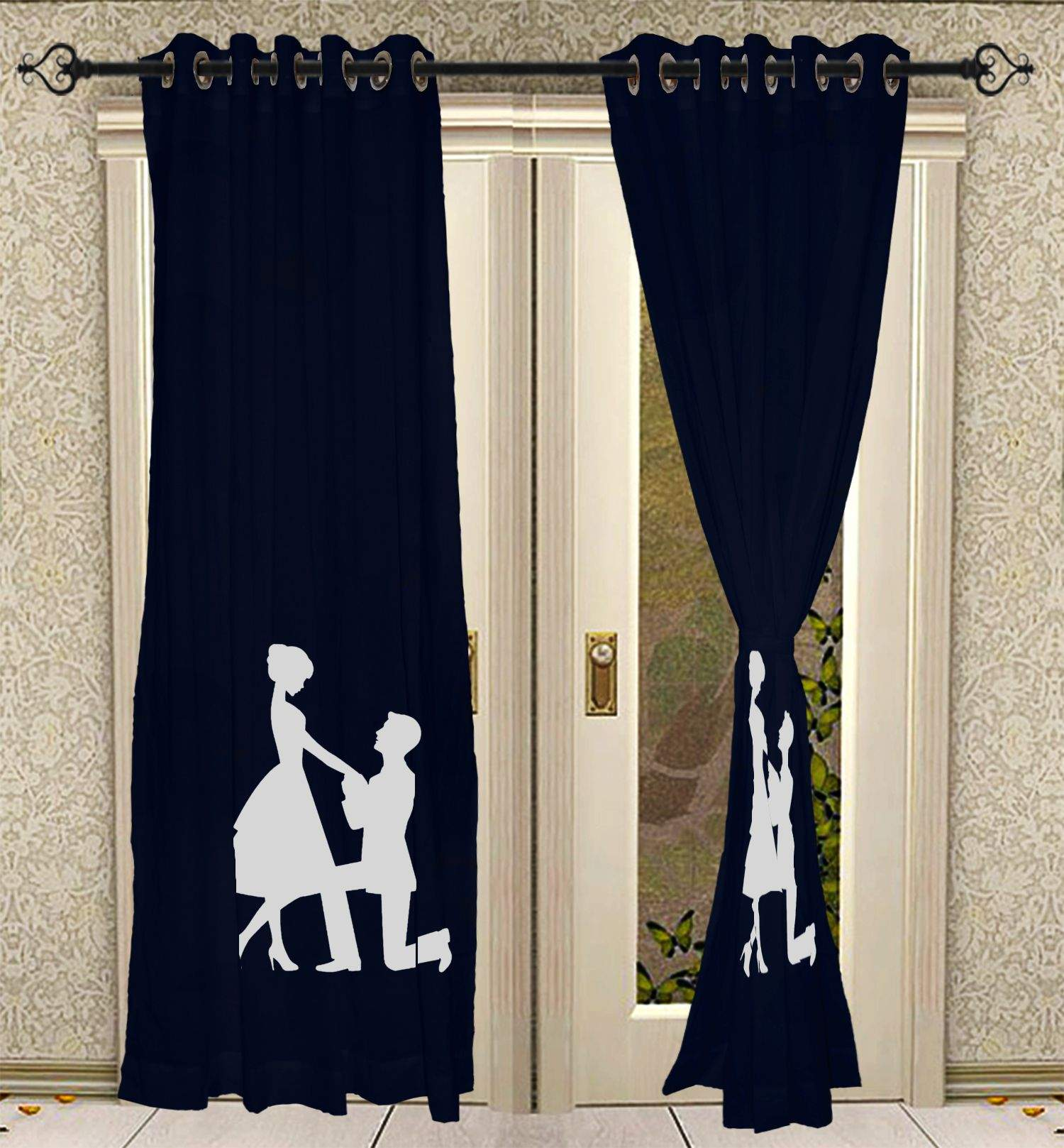 Eyelet Hand Block Printed Curtain Panels For Living Room Solid Cotton Blue Curtains 2 Pcs Panel Set