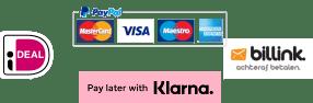 Betalen kan met iDeal, Paypal, of achteraf met Klarna of Billink