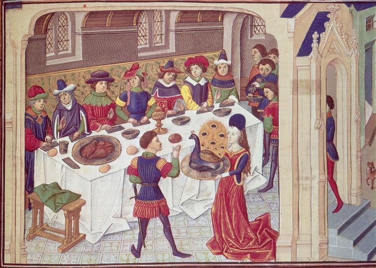 Middeleeuws banket met pauw