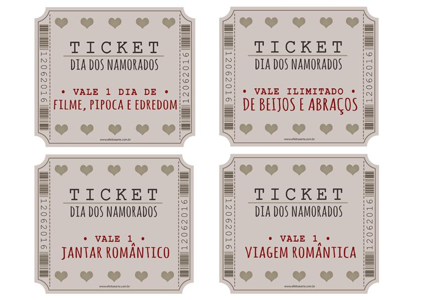 Tickets Vale Amor Impress 227 O A4 Efeito E Arte Papelaria