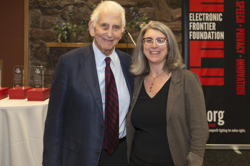 Daniel Ellsberg, renound whistleblower and 2018 Pioneer Award Keynote, poses with Executive Director Cindy Cohn