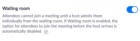 The waiting room setting toggled on to the right