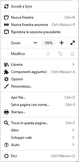 Firefox - Menù principale