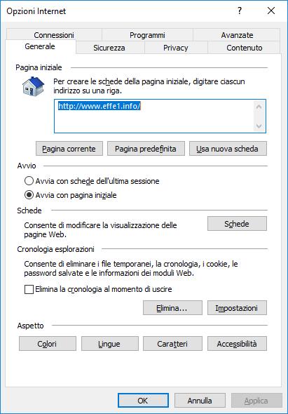 Internet Explorer - Opzioni Internet Cancellazione Automatica