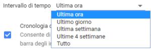 Google Chrome - Cancella dati di navigazione - Intervallo di tempo