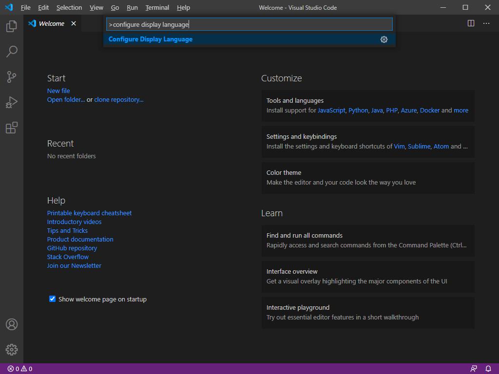 Visual Studio Code - Configure Display Language