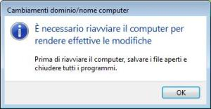 Windows Vista - Riavviare per applicare nome