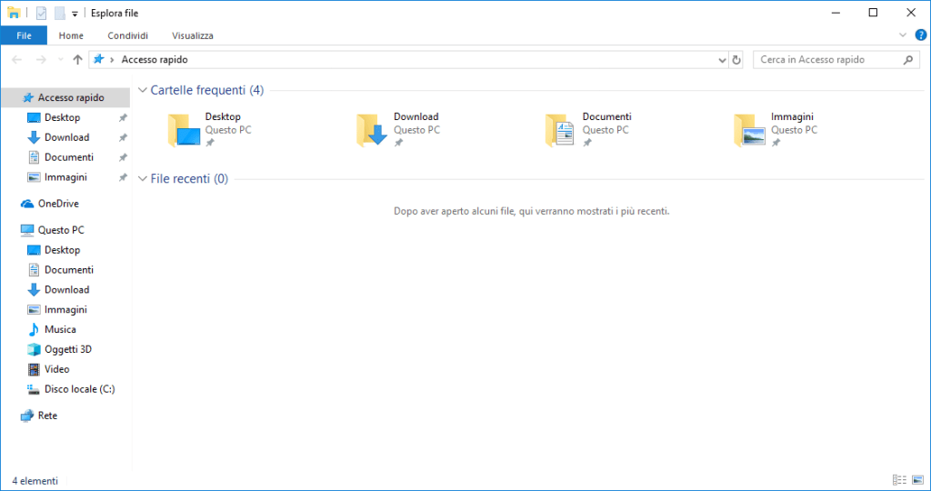 Windows 10 - Esplora file - cronologia vuota