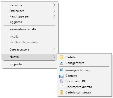 Windows 10 - Menù contestuale Nuova Cartella