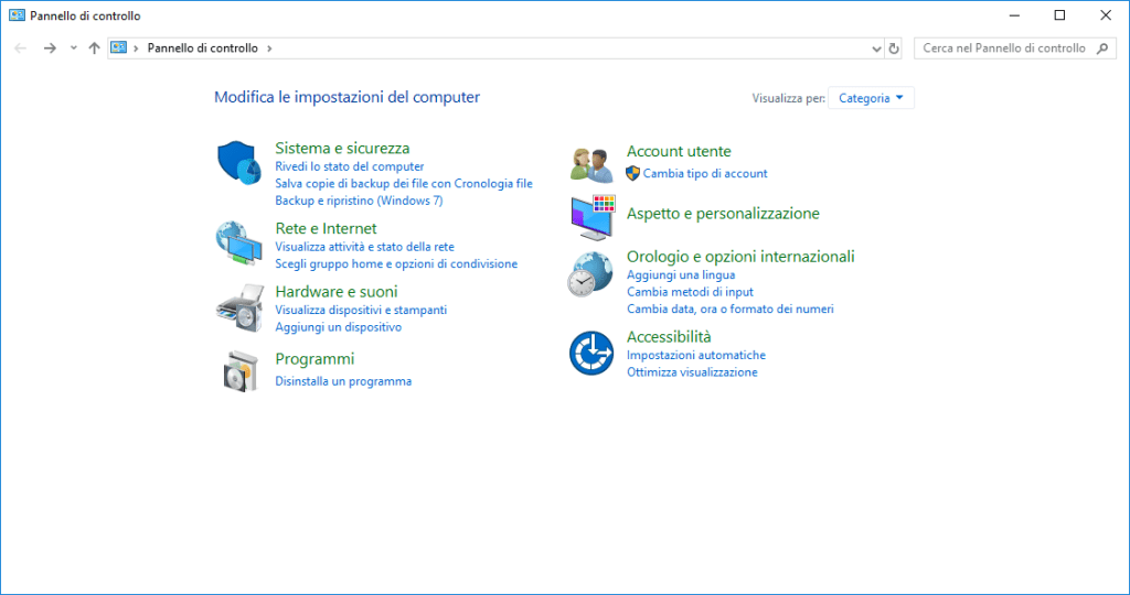Windows 10 - Pannello di controllo