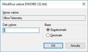 Windows 10 - AllowTelemetry - Impostazione Valore