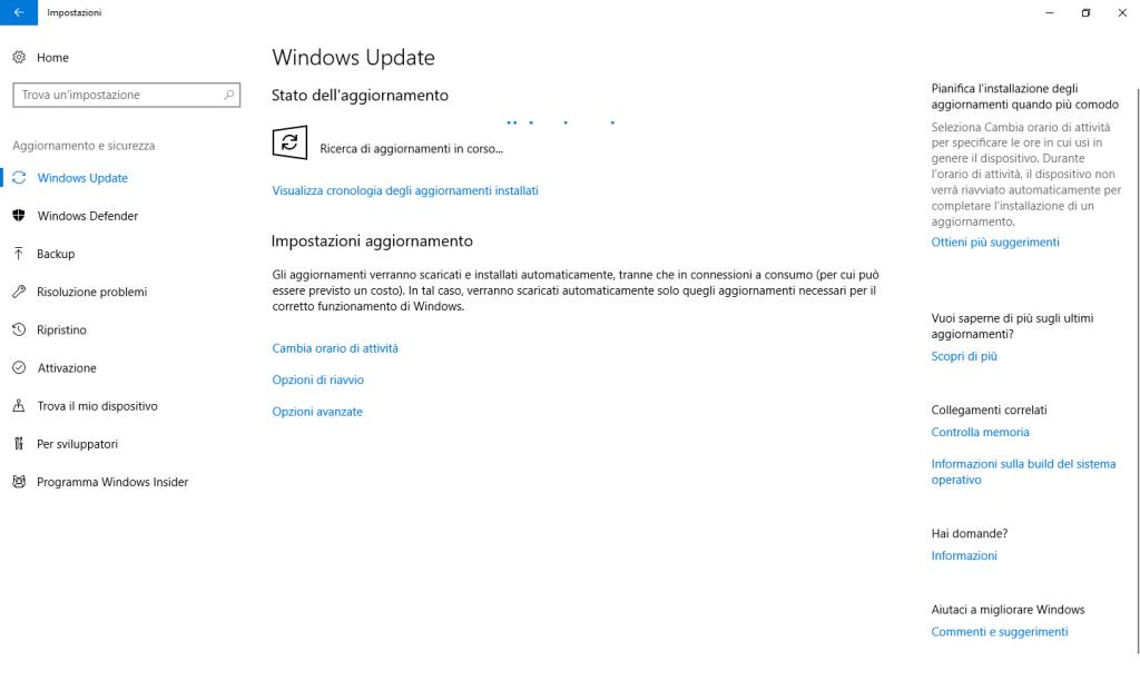 Windows 10 - Verifica disponibilità aggiornamenti in corso