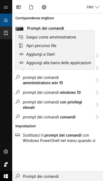 Windows 10 - Ricerca prompt dei comandi Menù a tendina