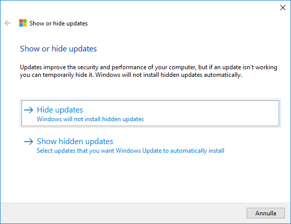 Windows 10 - Show or hide updates - Opzioni