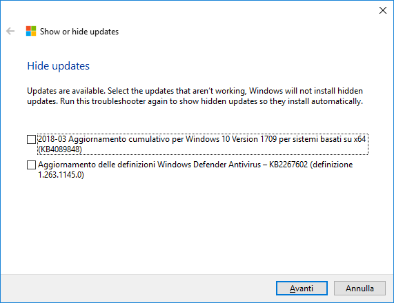 Windows 10 - Show or hide updates - Nascondere aggiornamenti