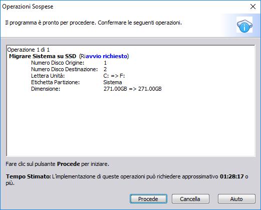 Aomei Partition Assistant - Migrare Sistema su SSD - Operazioni sospese