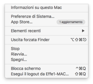 MacOs - Menù contestuale preferenze
