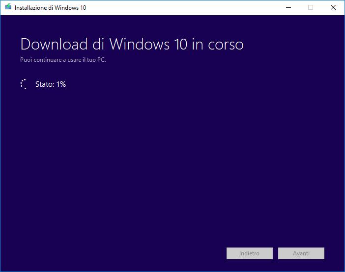 Windows 10 - Media Creation Tool - Download Windows 10 in corso