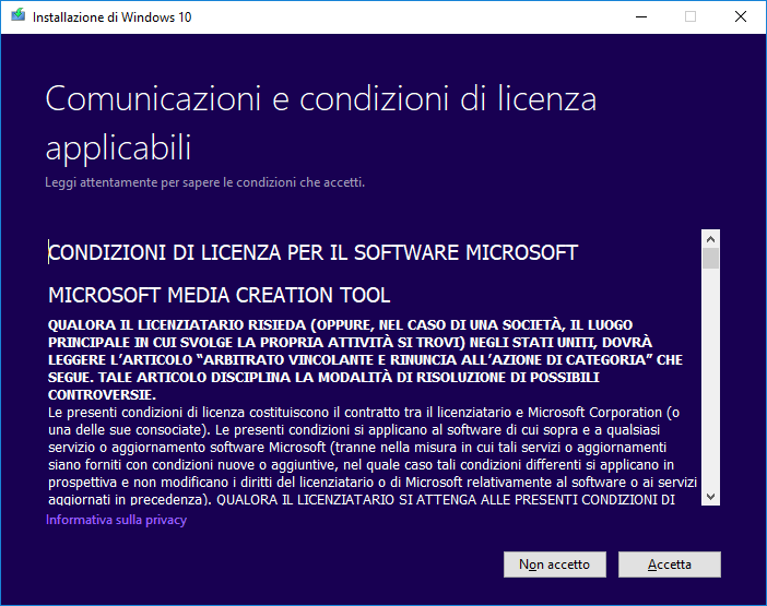 Windows 10 - Media Creation Tool - Licenza
