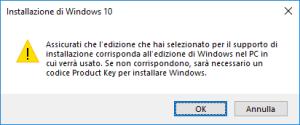 Windows 10 - Media Creation Tool - Avviso versione selezionata
