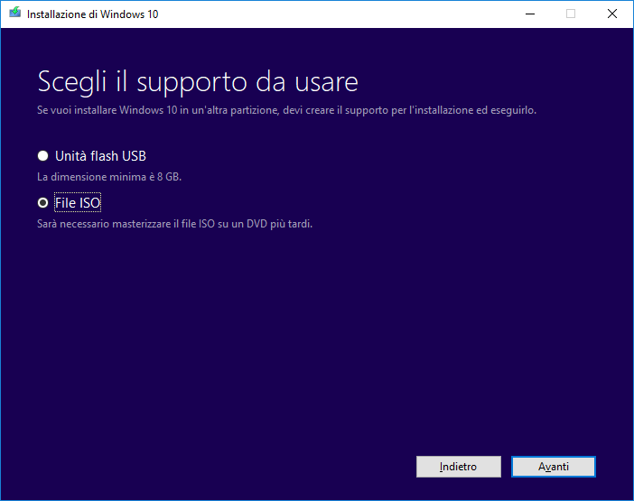 Windows 10 - Media Creation Tool - Scelta supporto ISO