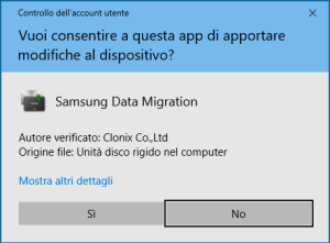 Samsung Data Migration - richiesta sicurezza