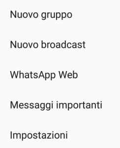 WhatsApp - Menù contestuale