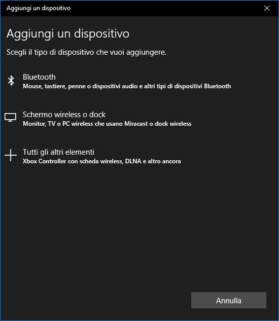Windows 10 - BlueTooth Aggiunti un Dispositivo