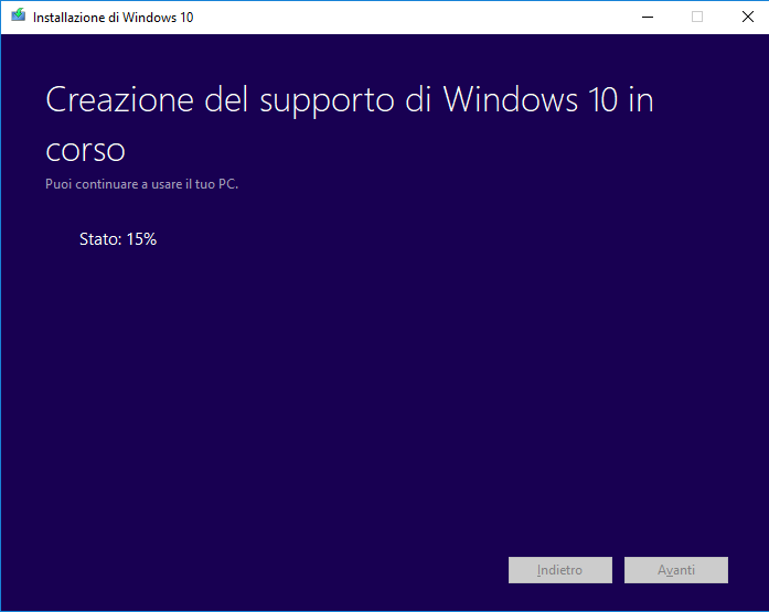 Windows 10 - Media Creation Tool - Creazione Iso