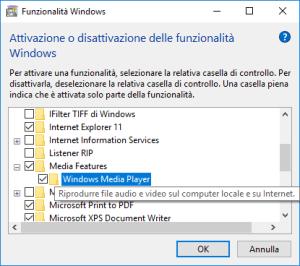 Windows 10 - Funzionalità Windows - Windows Media Player