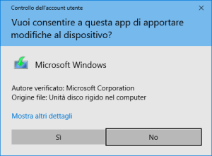 Windows 10 - Media Creation Tool - Conferma Sicurezza