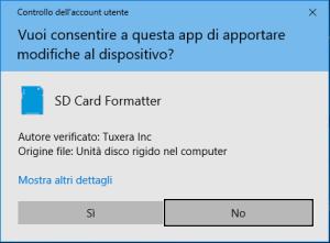 SD Card Formatter - Richiesta Avvio