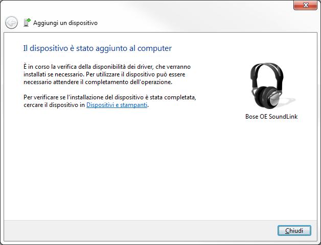 Windows 7 - Bluetooth - Il dispositivo è stato aggiunto al computer