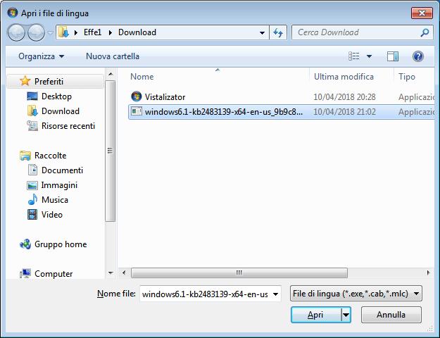 Windows 7 - Vistalizator - Apri i file di lingua
