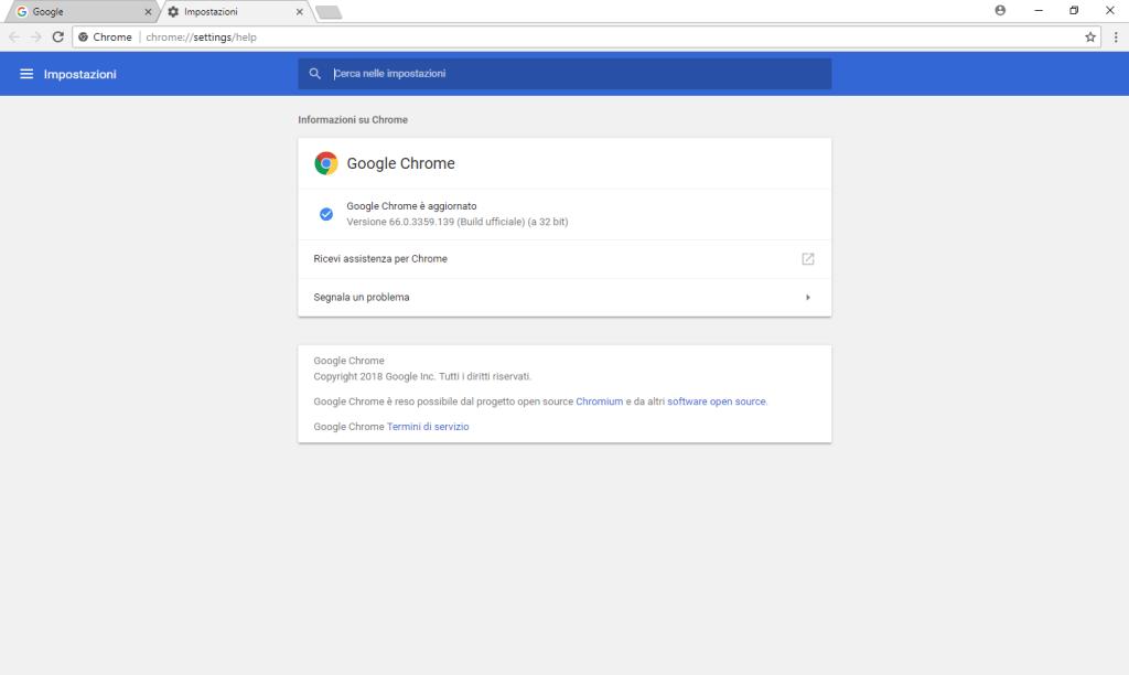 Chrome - Versione corrente