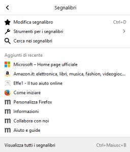Firefox - Menù Segnalibri