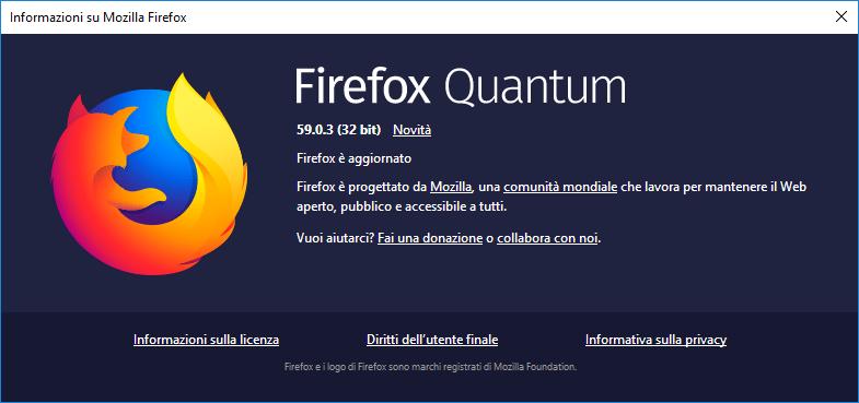 Firefox - Versione installata