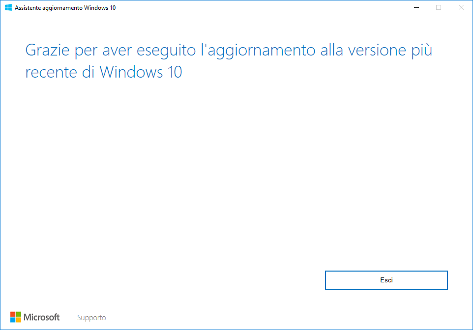 Windows 10 - Aggiornamento april 2018 fatto