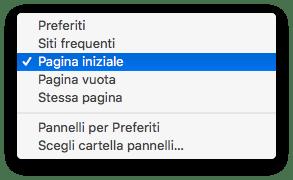 macOS - Safari - Pagina Iniziale Impostazioni