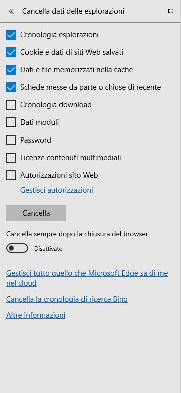 Microsoft Edge - Menù Cancella dati delle esplorazioni