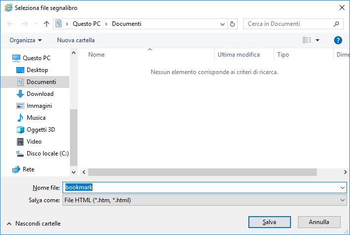 Internet Explorer - Esporta preferiti - Dove salvare
