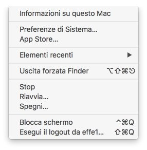 macOS - Apple - menù contestuale