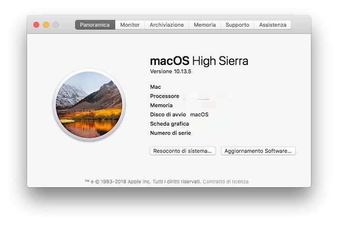 macOS - Apple - Informazioni Panoramica