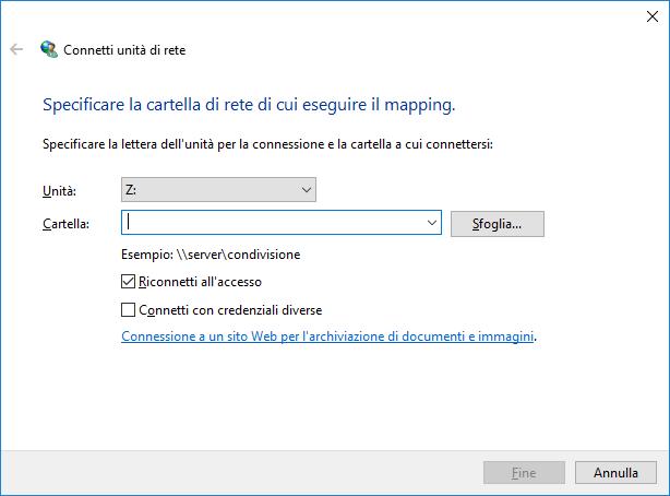 Windows 10 - Connetti unità di rete