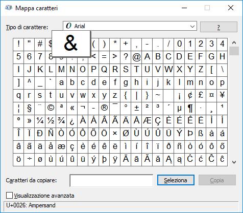 Windows - Mappa caratteri - e commerciale