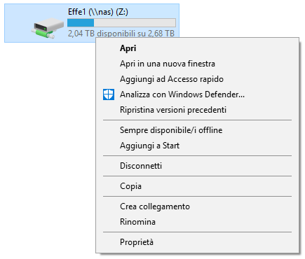Windows 10 - Menù contestuale unità di rete