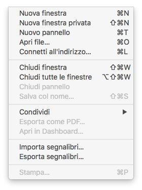 macOS - Apple - Safari - Menù File
