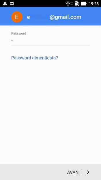 Google - Play Store - Aggiungi il tuo account - Password