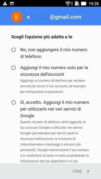 Google - Play Store - Aggiungi il tuo account - Telefono Altre Opzioni